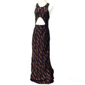 Stone Cold Fox Black Floral Maxi Dress Small